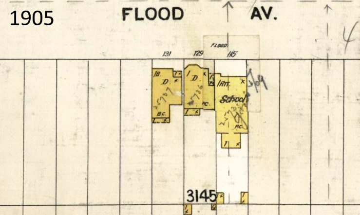 1905 Sanborn map, showing location of 115 Flood Avenue (later 143)-- house that served as school. From davidrumsey.com.
