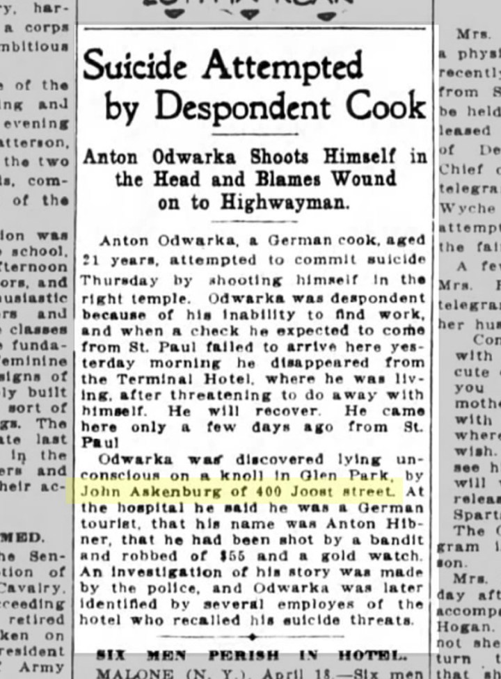 SF Chronicle, 19 April 1913. From newspapers.com. The reporter has altered Hugo Ekenberg's name, perhaps at Ekenberg's request.
