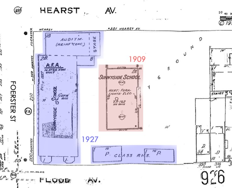 1915 Sanborn map showing relative positions of first and second Sunnyside School buildings on the property. From http://sanborn.umi.com.ezproxy.sfpl.org/splash.html