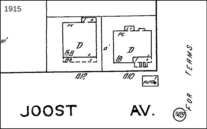 1915 Sanborn map, showing little shed for automobile next to 400 Joost Ave. (Mapmaker has mistakenly put 410 as address; there is no 410.)