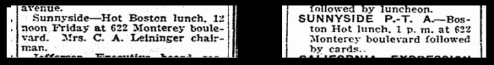 From SF Chronicle, 30 and 7 October 1927. From Newsbank.com.