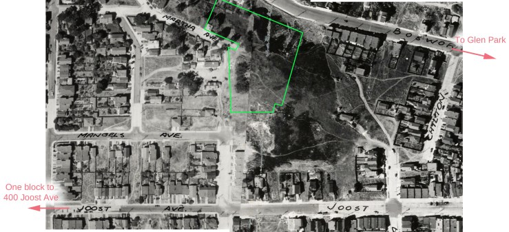 1938 aerial photograph. From davidrumsey.com. Green line indicates where Dorothy Erskine Park would be located many years later.