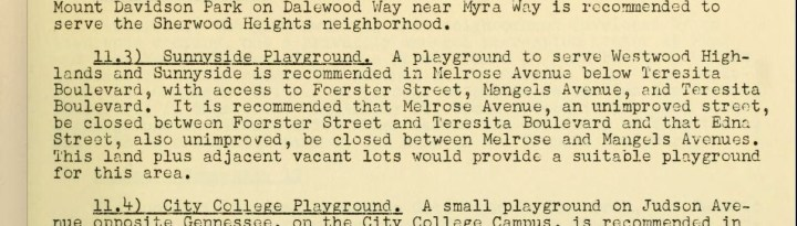 "SF Dept of City Planning, ""Report on a Plan for the Location of Parks and Recreation Areas in San Francisco,"" April 1954, p62."
