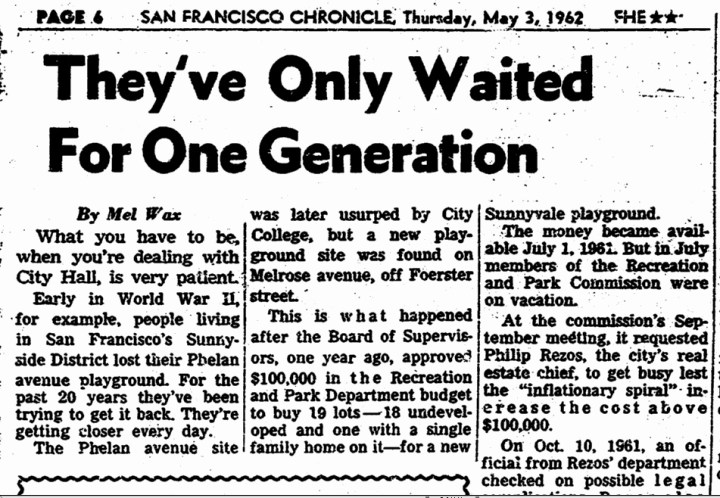 Chronicle reporter Mel Wax covers the bumpy history of funding the Sunnyside Playground. SF Chronicle, 3 May 1962.