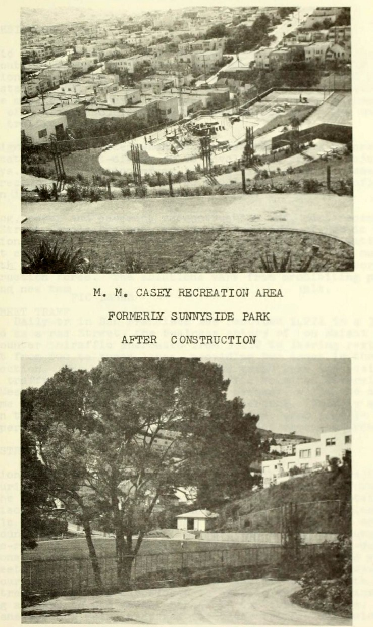 Photo from DPW Annual Report, 1966, showing Sunnyside Playground after most of the landscaping and engineering work had been done. The Recreation center would be finished a few years later.