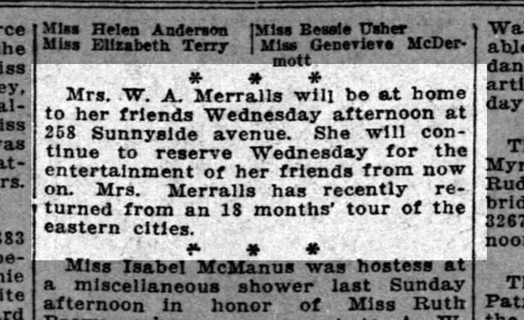 Note in the society page -- Temperance Merralls invites her friends to visit. SF Chronicle, 2 March 1913.