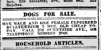 Selling pedigreed dogs. SF Chronicle, 14 May 1915.