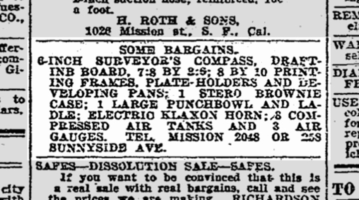 Evocative assortment of things of sale--surveyors compass, photographic equipment, electric car horn, compressed air tanks--and a punch bowl. SF Chronicle, 23 May 1915.