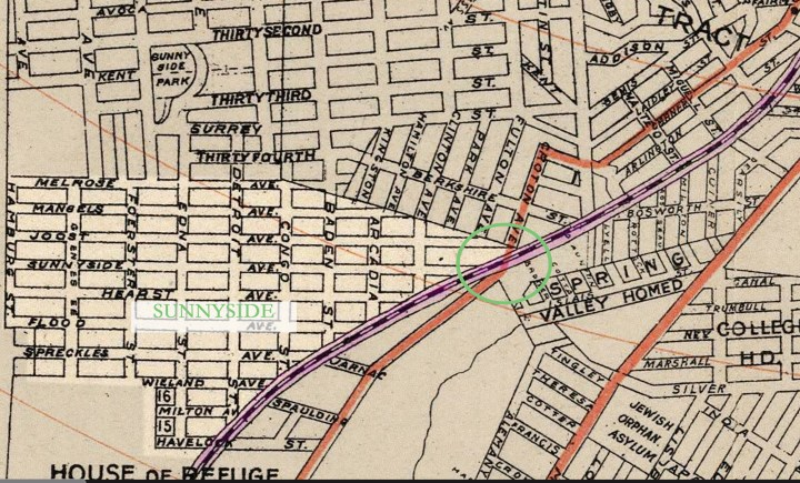1897 city map with two lines marked.