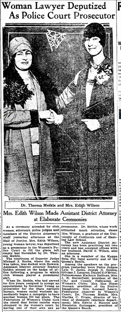 SF Chronicle, 2 Feb 1928. Dr Theresa Meikle on the left, Mrs Edith Wilson on the right.