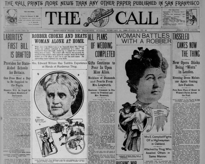 SF Call, 11 Feb 1906, page 31. Mrs Wilson was not the only woman to have battled a brutalizing man that week.