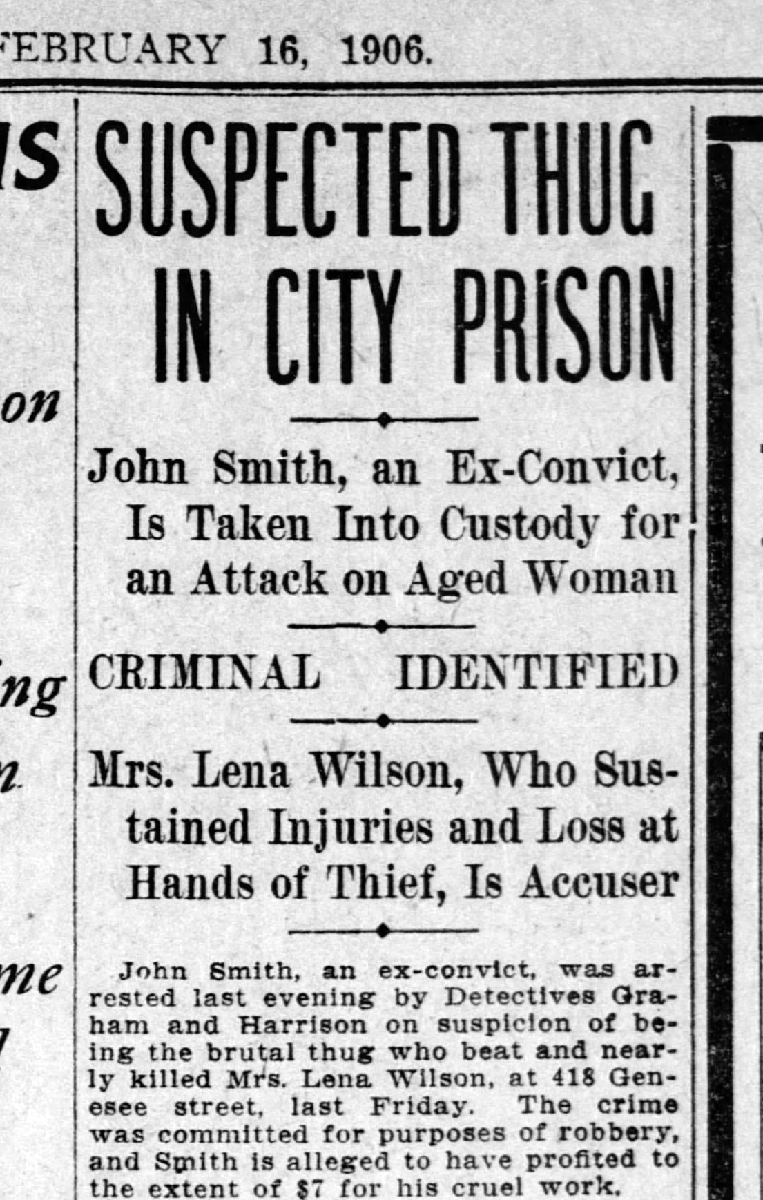 Suspect John Smith taken into custody. SF Call, 16 Feb 1906, p.5.