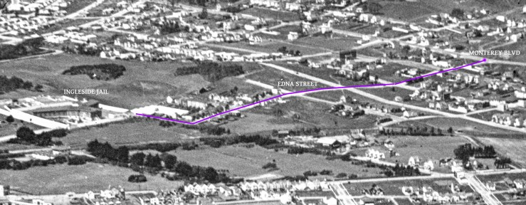 1922 aerial photo altered to show the route Jack Black took from the jail to the waiting car which would whisk him and Davenport away to freedom. Original image: http://opensfhistory.org/Display/wnp27.0542.jpg