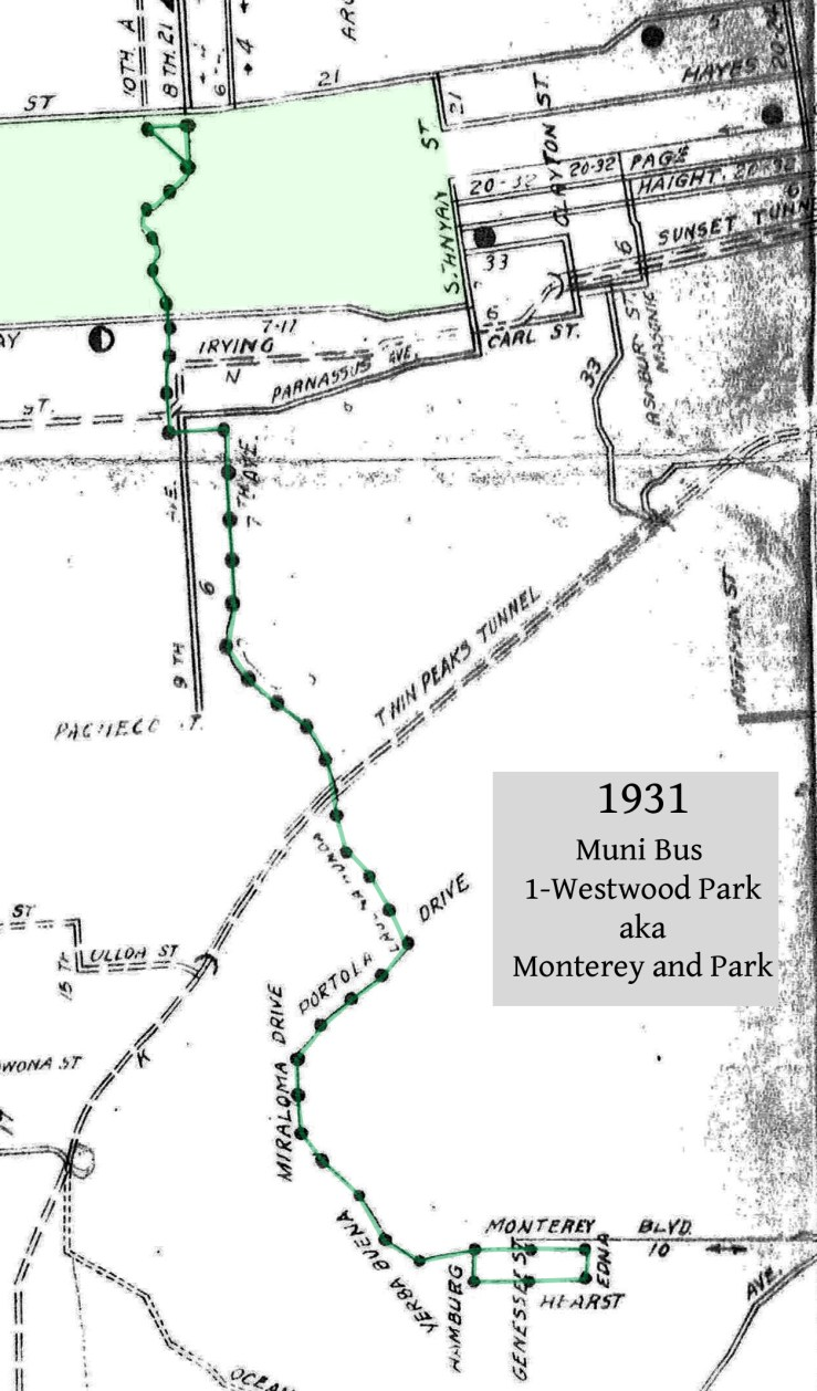 1931 Muni map, showing the route of Bus no.1, known as 1 Westwood Park, or Monterey and Park. Note that Ridgewood Ave is still called Hamburg Street in Sunnyside.