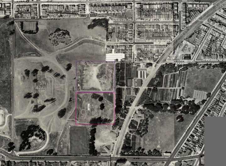 1938 aerial photo, altered to show location men's jail (purple) and womens' jail (pink) shortly after buildings demolished. From DavidRumsey.com. Click for larger image. https://i2.wp.com/sunnysidehistory.org/wp-content/uploads/2017/05/1938-aerial-balboapark-inglesidejail-marked.jpg?resize=720%2C528&ssl=1
