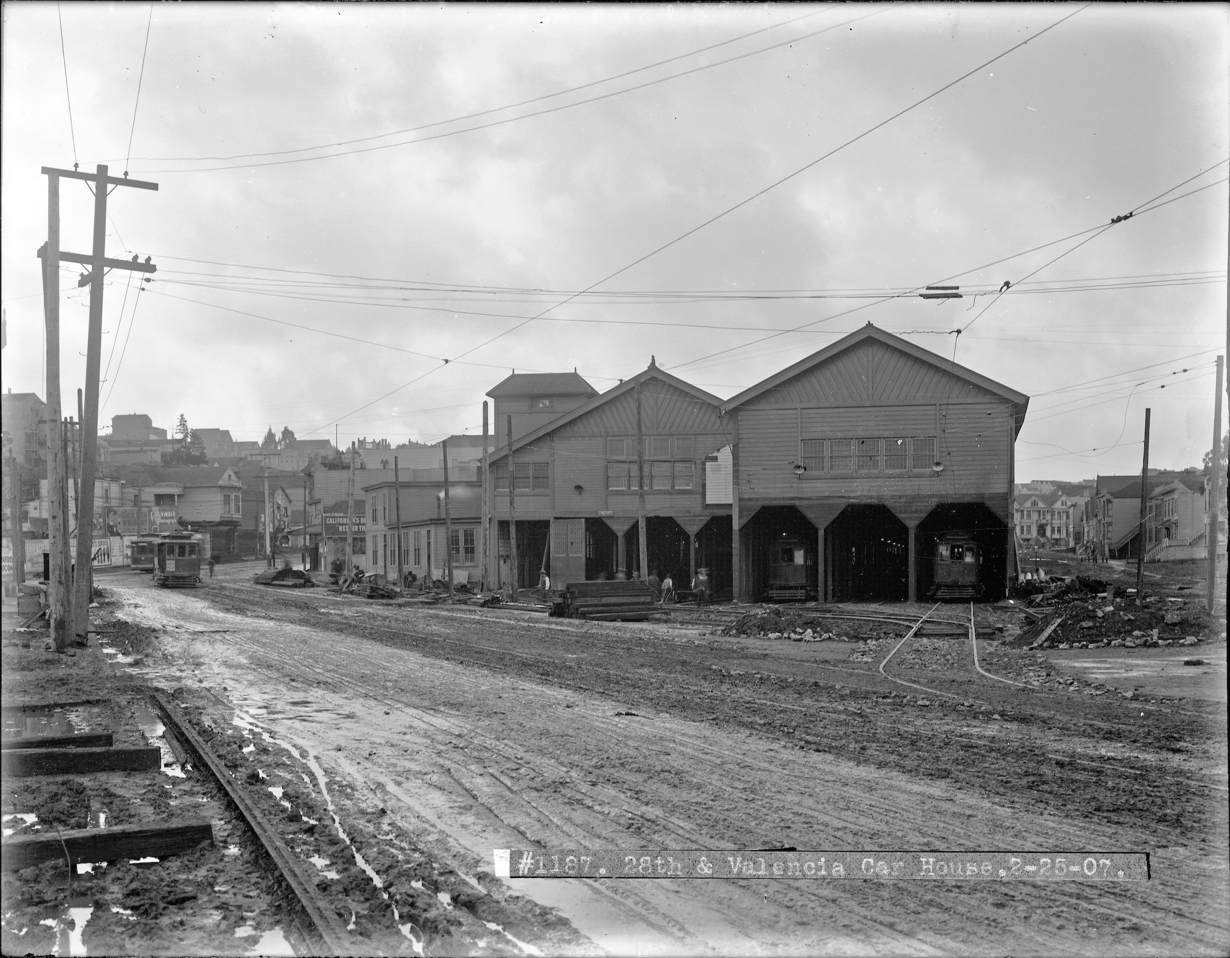 1907 Valencia Car house, Tiffany Ave on right. Courtesy SFMTA http://sfmta.photoshelter.com