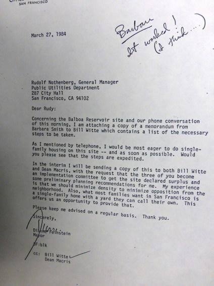1984Mar27-letter-DFeinstein-to-PUC-BR-housing-s