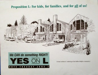 1988. Postcard for Yes on Prop L campaign. San Francisco History Center.