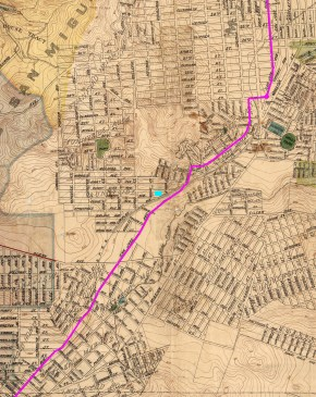 1899 City map, marked with pink line to show route of San Francisco and San Mateo Railway. Sunnyside Powerhouse at aqua dot. View entire map. https://sunnysidehistory.org/wp-content/uploads/2018/05/1899-SF-Sewer-City-map-SFSMRR-marked.jpg