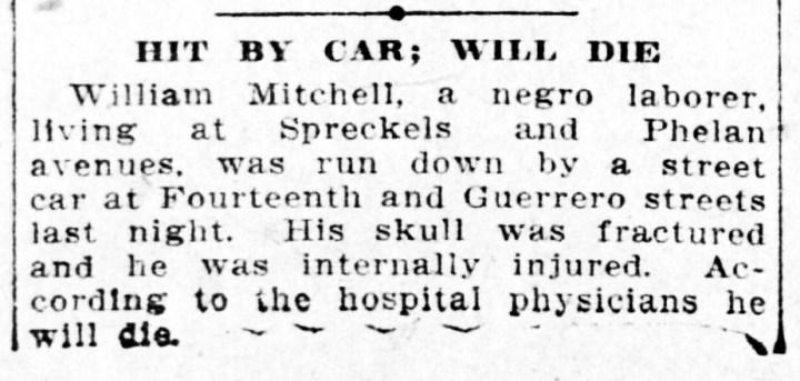 1907Nov6-Call-p16-laborer-hit-by-car-lived-Phelan-Ave