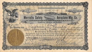 Dec 1910. Stock certificate, Merralls Safety Aeroplane Manufacturing Company. Collection of Glen Park Neighborhoods History Project. Gift of Allan Merralls.