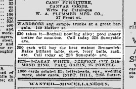 SF Chronicle, 20 Apr 1913. A Boxball bowling alley was a top-of-the-line luxury item, as was the Brunswick-Balke billard table. SF Chronicle Archive, SFPL.