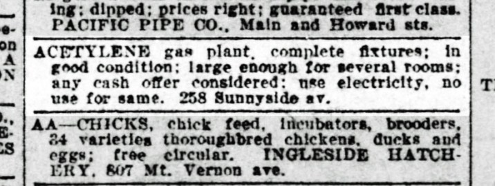 SF Call, 9 Feb 1013. A mysterious item for sale from the Merralls' home. California Digital Newspaper Archive.