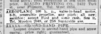 """SF Examiner, 1 Jul 1915. """"Accept Ford and some cash."""" Newspapers.com."""