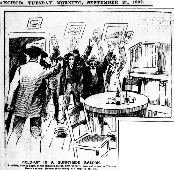 Haack's saloon in the SF Examiner, 21 Sep 1897. Newspapers.com.