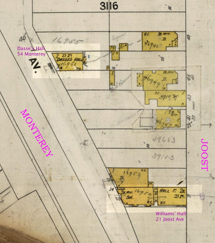 1905 Sanborn map, portion of sheet 719. Dasse's Hall and Williams Hall highlighted. DavidRumsey.com.