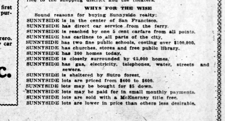SF Call, 3 June 1909. Portion of four-page Sunnyside supplement.