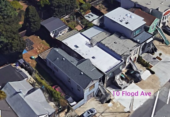 2018. Google satellite view showing 10 Flood Ave now.
