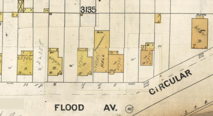 1905 Sanborn Map, portion of sheet 718, showing Sunnyside Hall at 10 Flood Ave. DavidRumsey.com.
