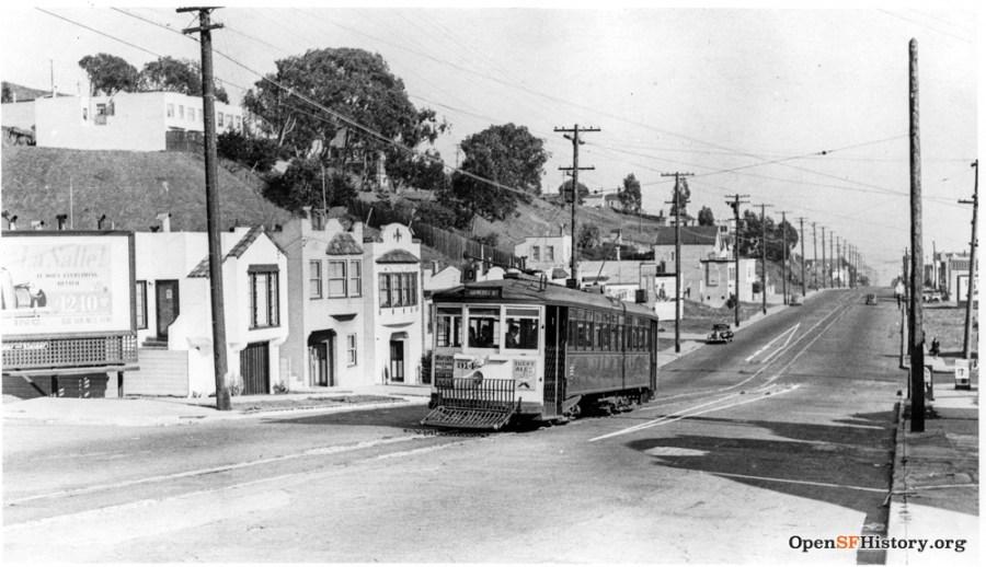 1940c. Monterey Blvd at Edna. OpenSFHistory.org.