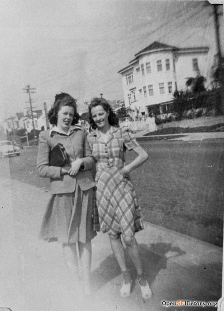 1940s. Two Strohmeier girls with the now-gone house at 780 Monterey behind them. OpenSFHistory.org