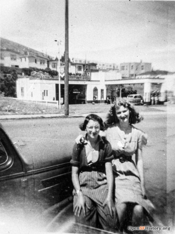 1940s. Two Strohmeier girls, with Hink's Service Station visible behind, where apartment building at 740 Monterey now stands.