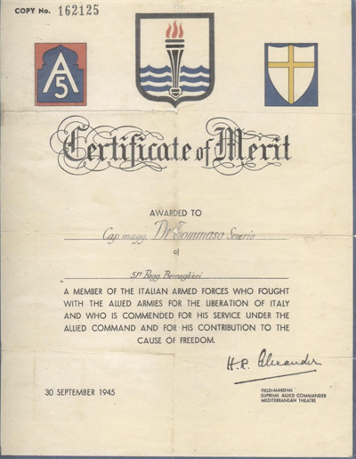 1945. Certificate of Merit for Saverio (di Tommaso) Versaggi. Image courtesy Charles Versaggi.