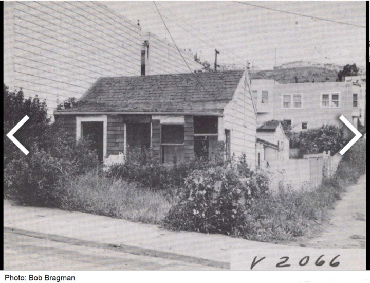 1956. Path through sewer lot, see on far right, next to old house at 570 Joost Ave (now demolished). Photo: Bob Bragman.