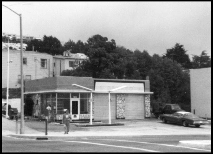 1970s. Gas station, northeast corner o f Monterey and Ridgewood. Photo courtesy Jacqueline Proctor, from Ron Davis.