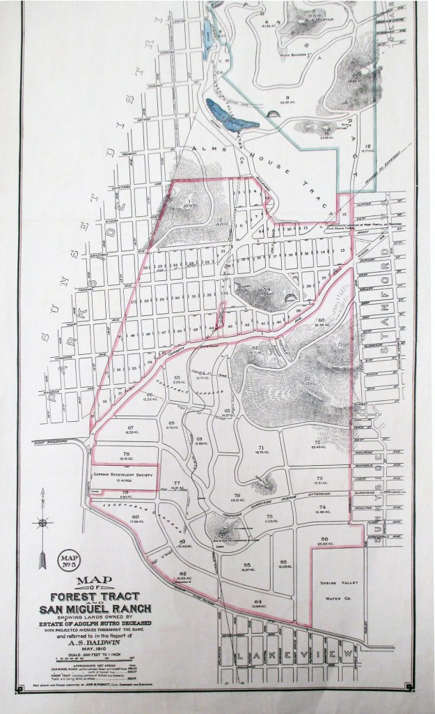 1910. Map of Forest Tract and San Miguel Ranch showing Lands owned by the Estate of Adolph Sutro. California Historical Society.