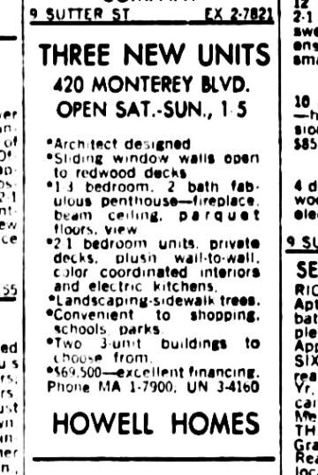 SF Examiner, 18 Aug 1965. 420 Monterey Blvd.
