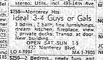 SF Chronicle, 3 Nov 1963. For 422 Monterey, top unit. Wrong neighborhood by half a mile.
