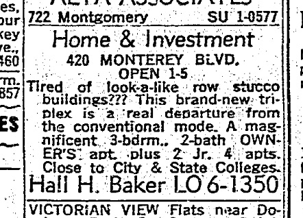 SF Chronicle, 15 Mar 1964. For 420 Monterey.