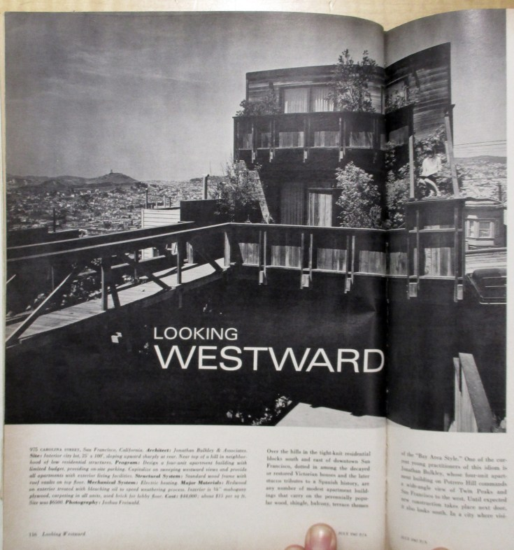 "Progressive Architecture, July 1967. Image of rear exterior, with ""bridge-deck."" 975 Carolina Street, built 1961. Designed by Bulkley."