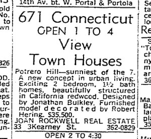 SF Chronicle, 5 Mar 1967. For 671 Connecticut Street.