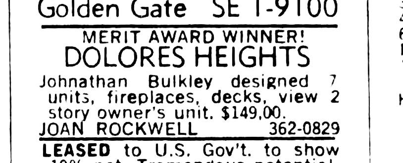 SF Examiner, 19 Nov 1967. For 300 Hill Street.
