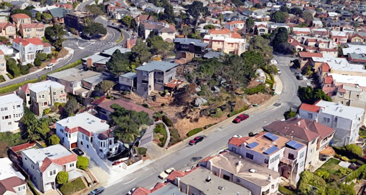 2019. Rocky hill between 800 block of Darien Way and Monterey Boulevard. Google satellite.