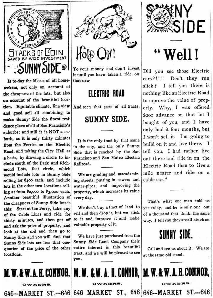 The last word-rich advertisement for Sunnyside, one year after debut. SF Chronicle, 1 May 1892.