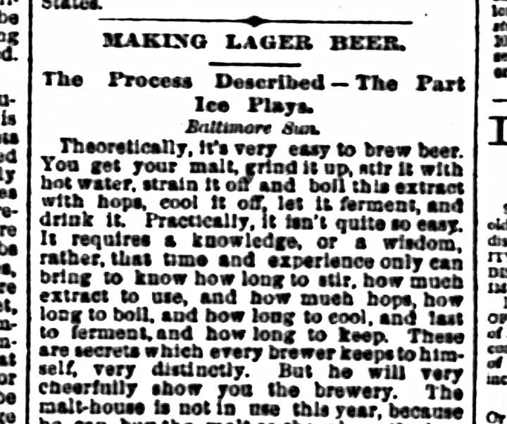SF Chronicle 18 Jun 1885. Read entire article here. https://sunnysidehistory.org/wp-content/uploads/2019/09/1885Jul18-Chronicle-Making-lager-beer.jpg