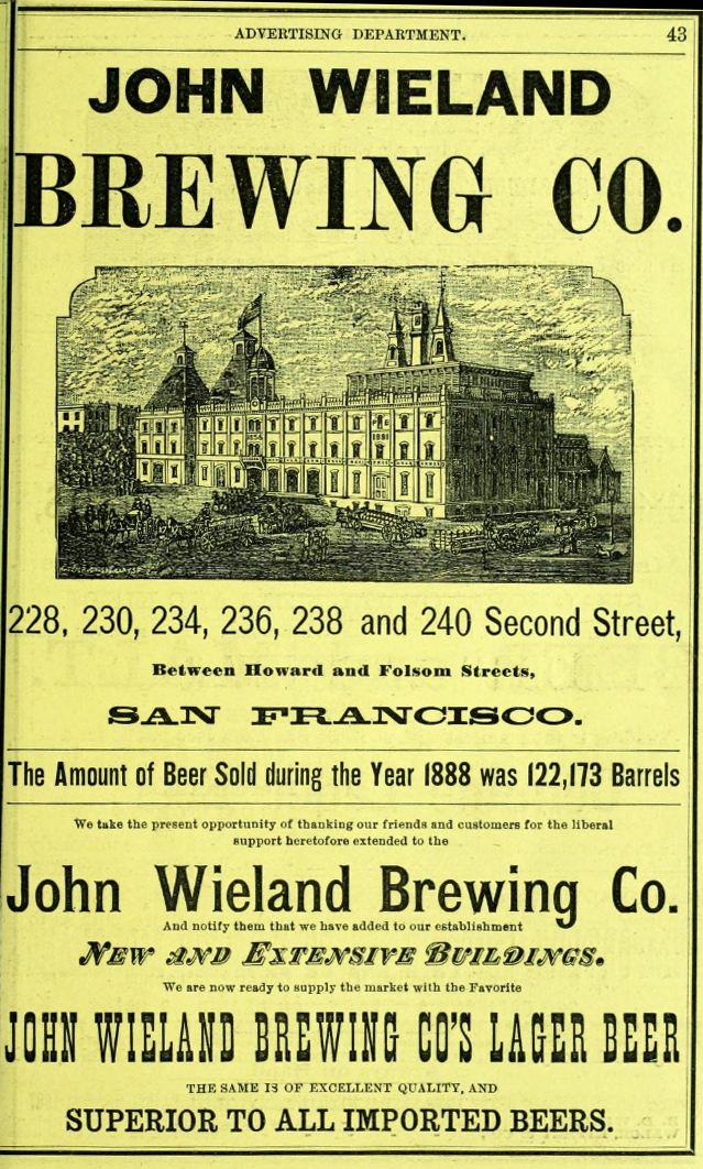 Ad for the Wieland brewer, SF Directory, 1889.